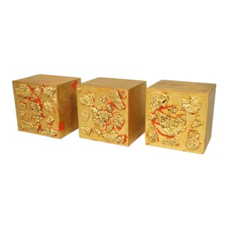 Set of 3 Wall Mounted Gilt Wood Blocks - Chinoiserie and Brutalist Style, Channel Your Inner Bruce Lee