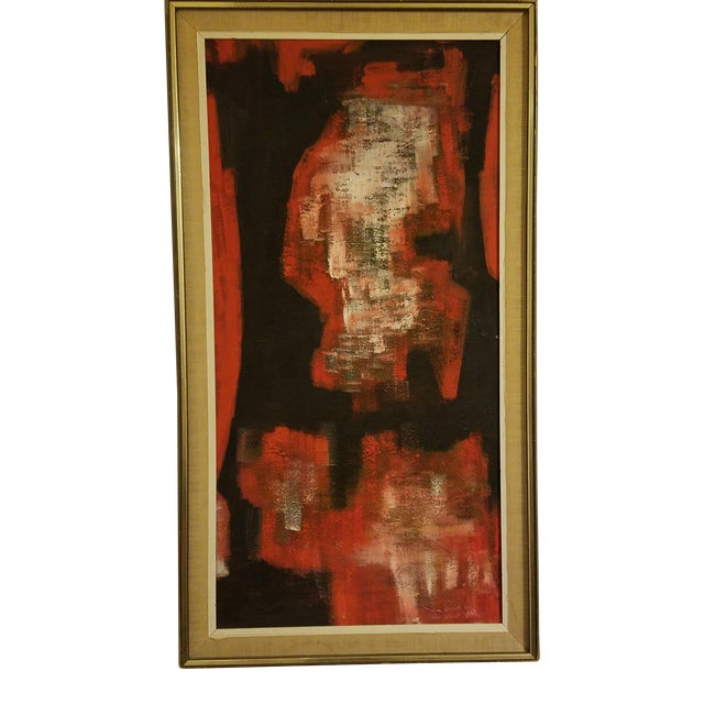 Mid-Century Abstract Oil Painting - Image 1 of 8