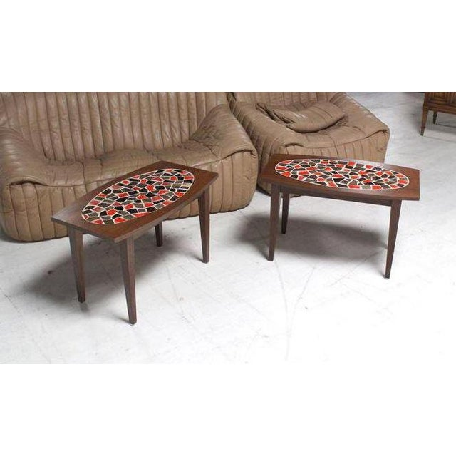 Pair of very nice vintage mid century modern mosaic tops walnut end tables.