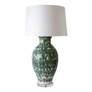 "Paul Schneider Ceramic ""Matagorda"" Lamp in Drip Banded Forrest Glaze For Sale"