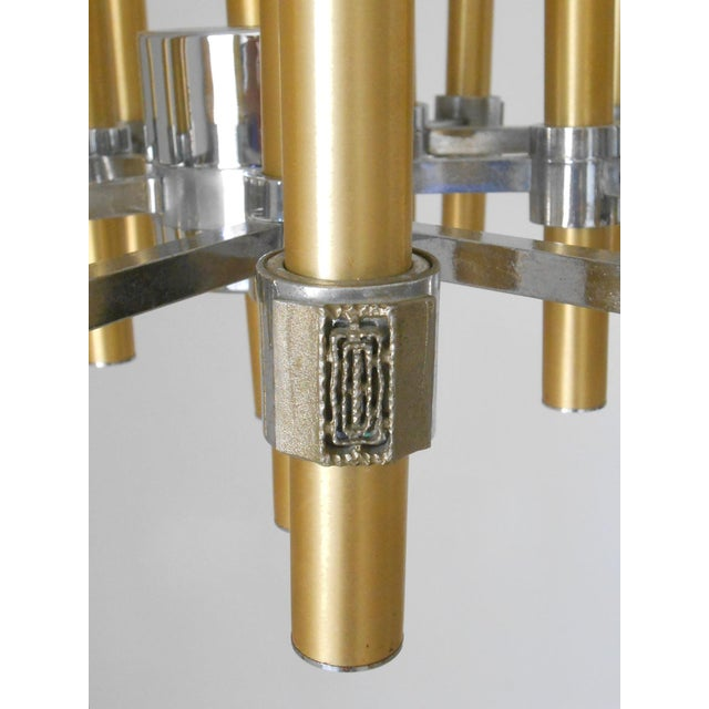 Brass and Chrome Tubes Chandelier by Sciolari For Sale In Palm Springs - Image 6 of 7