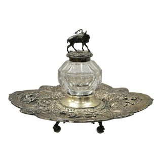 Gorham English Victorian Silver Plated Platter Tray Stag Mounted Glass Inkwell For Sale