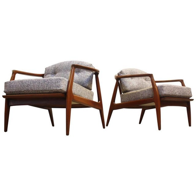 Pair of Staved Walnut Lounge Chairs by Milo Baughman - Image 3 of 11