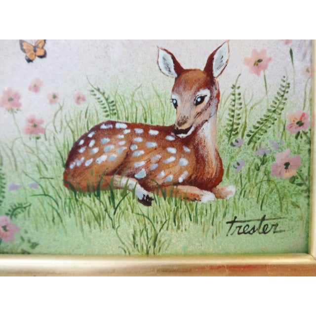 Realism Framed Painting on Metal of a Deer For Sale - Image 3 of 7