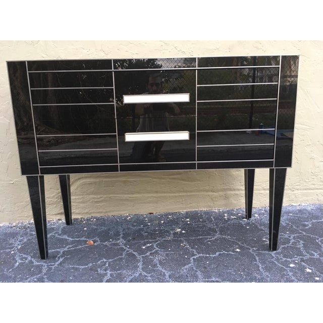Gold New Chest of Drawers in Black Mirror and Aluminium With White Glass Handle For Sale - Image 8 of 11