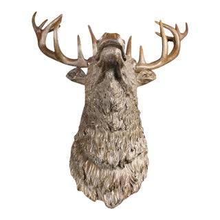 Elk Head Bust Bronze Stag Sculpture