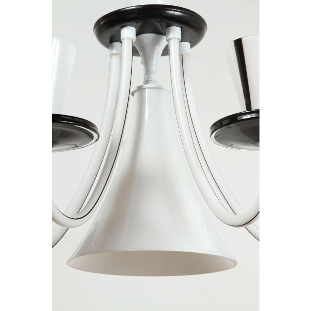 White & Black Murano 5 Arm Chandelier Fixture For Sale - Image 9 of 10