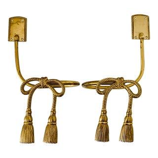 Vintage Brass Tassel Drapery Curtain Holdbacks - a Pair For Sale