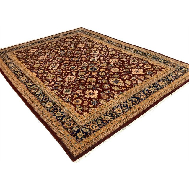 Textile Kafkaz Peshawar Red & Blue Wool Rug - 9'0 X 12'2 For Sale - Image 7 of 7