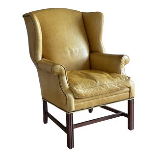 Yellow Leather Wingback Chair For Sale
