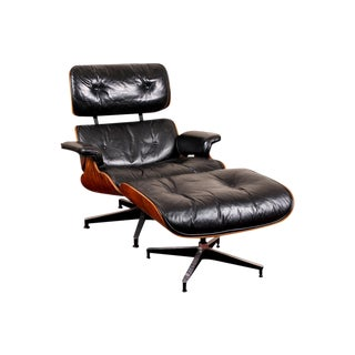 Vintage Iconic Charles Eames for Herman Miller Lounge Chair and Ottoman in Black Leather and Rosewood