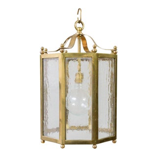 French Brass and Glass Octagonal Lantern For Sale