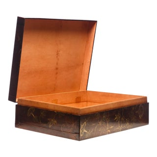 Lawrence & Scott Hand-Painted Morning Glories Mahogany Leather Decorative Box For Sale