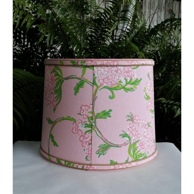 Large Lampshade Lilly Pulitzer Fabric Floral Pink For Sale - Image 9 of 11