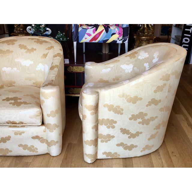 Pair of Mid Century Modern Barrel Club Chairs. This wonderful pair of club chairs are genuine vintage chairs, each...
