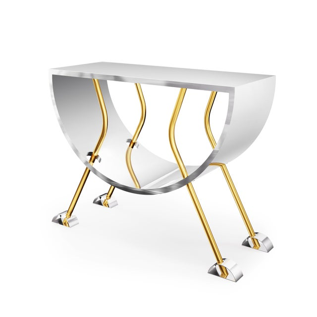 Troy Smith Designs Double D Console in Brass and Stainless Steel by Artist Troy Smith - Limited Edition For Sale - Image 4 of 4