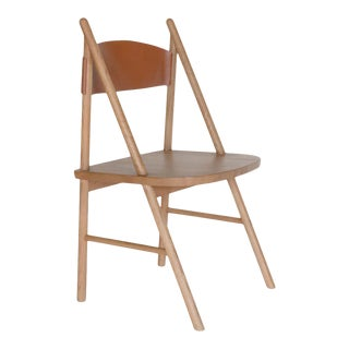 Cress Chair by Sun at Six, Sienna Minimalist Dining Chair in Wood, Leather For Sale