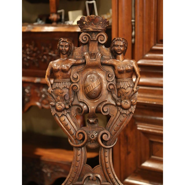 Pair of 19th Century Italian Renaissance Carved Walnut Sgabello Hall Chairs For Sale - Image 10 of 13