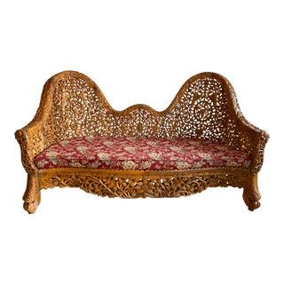 Vintage French-Indo Reverse Camelback Carved Teak Sofa Daybed For Sale