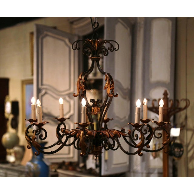 Early 20th Century French Louis XV Painted & Gilt Six-Light Iron Chandelier For Sale - Image 4 of 12