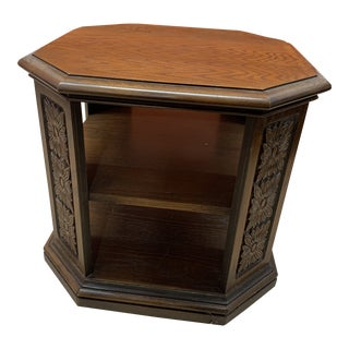 Vintage Moroccan Octagonal Hand Carved End Table For Sale