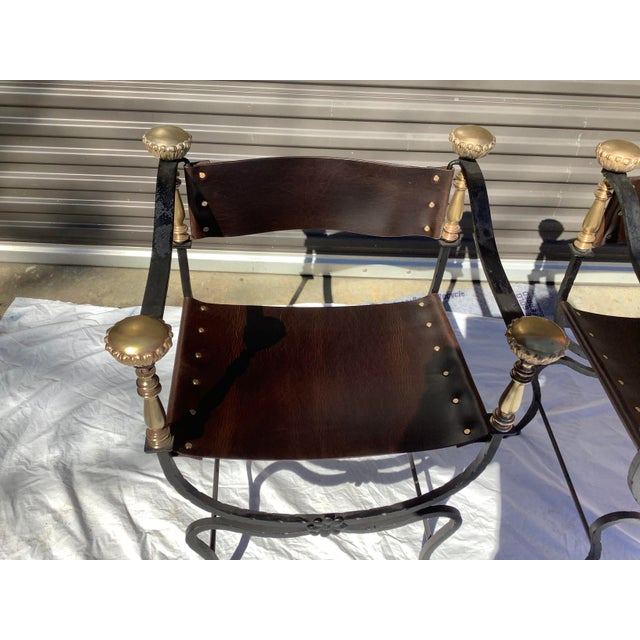 1960s 1960s Italian Savaronola Style Chairs, a Pair For Sale - Image 5 of 12