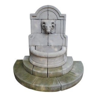 Carved Limestone Rams Head Wall Fountain From France For Sale