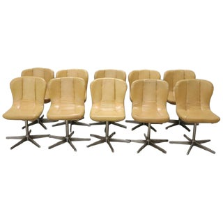 20th Century Italian Design Chromed Metal and Leather Set of 10 Armchairs, 1960s For Sale