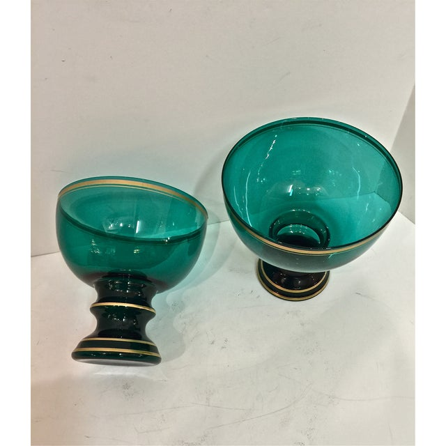 Mid Century Emerald Glass Footed Bowls - Pair - Image 5 of 6