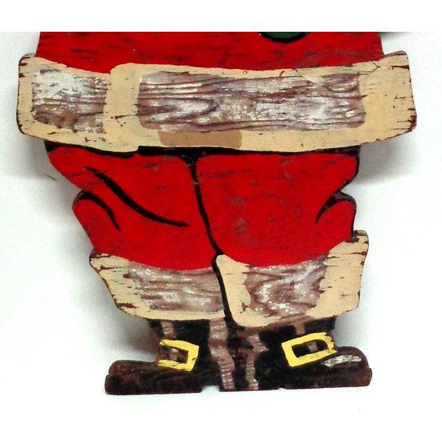 Folk Art Vintage Santa Claus Wood Sign For Sale - Image 3 of 5