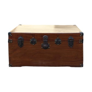 Chinese Brown Wood & Iron Hardware Trunk Table For Sale