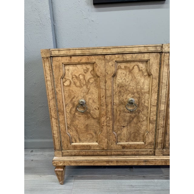 Mid-Century Modern Mid Century MasterCraft Colossal Burl Wood Dresser For Sale - Image 3 of 11