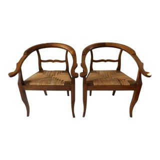 Antique Italian Walnut Barrel Chairs- A Pair For Sale