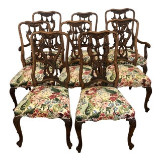 1980s Carved Wood Tassel French Dining Chairs-Set of Eight For Sale