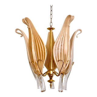 Mid Century Seguso Murano Glass Leaf Chandelier For Sale