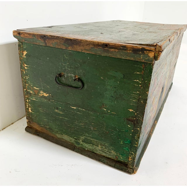 19th C. Eastern European Antique Folk Art Painted Chest For Sale - Image 12 of 13