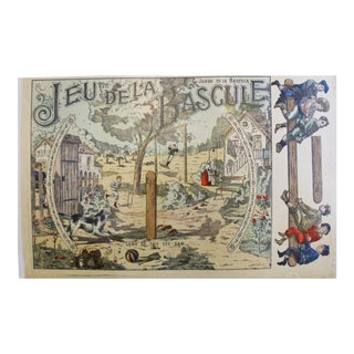 1900s French Vintage Game Sheet, Jeu de la Bascule