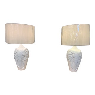 1970s White Elephant Lamps - a Pair For Sale