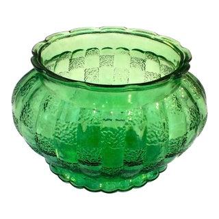 Vintage Green Glass Planter