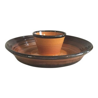 Handmade Pottery Chip & Dip Serving Plate
