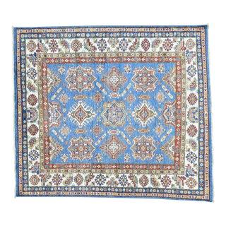 Hand-Knotted Kazak Tribal Design Squarish Rug- 5′9″ × 6′7″ For Sale