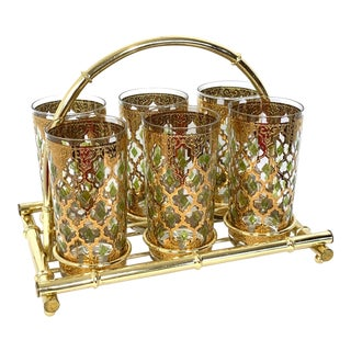 1960s Culver Green Gold 22k Valencia Glasses With Gold Tone Bamboo Carrier - Set of 6 For Sale