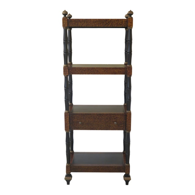 Lillian August Regency Style Leather Top Tiered Bookshelf For Sale