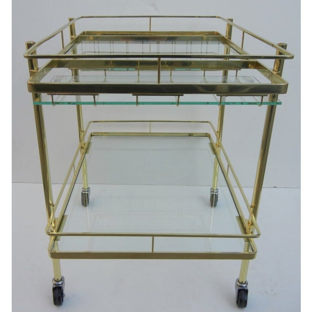 Italian Cesare Lacca Brass Bar Cart For Sale - Image 3 of 4