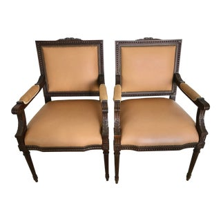 1900s Vintage French Louis XVI Style Leather/Nailhead Chair- A Pair For Sale
