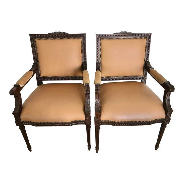 Vintage French Louis XVI Style Leather/Nailhead Chair- a Pair For Sale