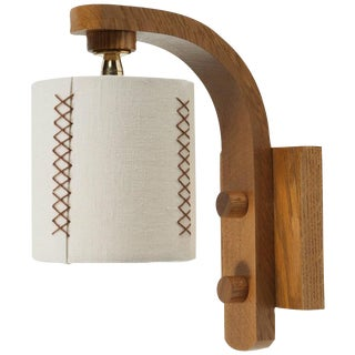 Paul Marra Oak Sconce with Hand-Stitched Linen Shade For Sale