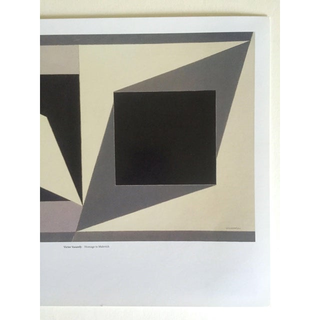"""Mid-Century Modern Vintage Victor Vasarely Op Art Modernist Geometric Lithograph Print """" Homage to Malevich """" 1953 For Sale - Image 3 of 12"""