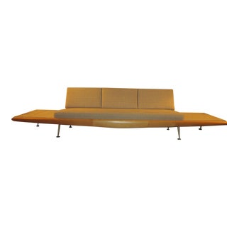 Rare Adrian Pearsall Platform Sofa with Travertine Side Tables For Sale