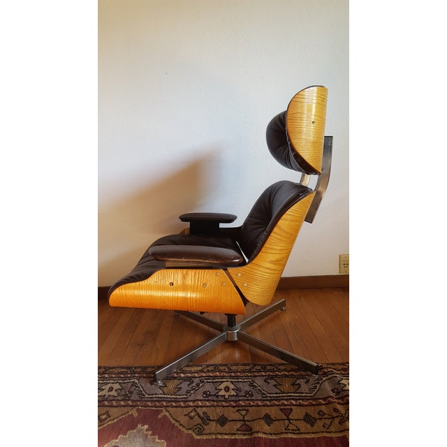 Plycraft Vintage Eames Style Chocolate Selig Plycraft Lounge Chair For Sale - Image 4 of 11
